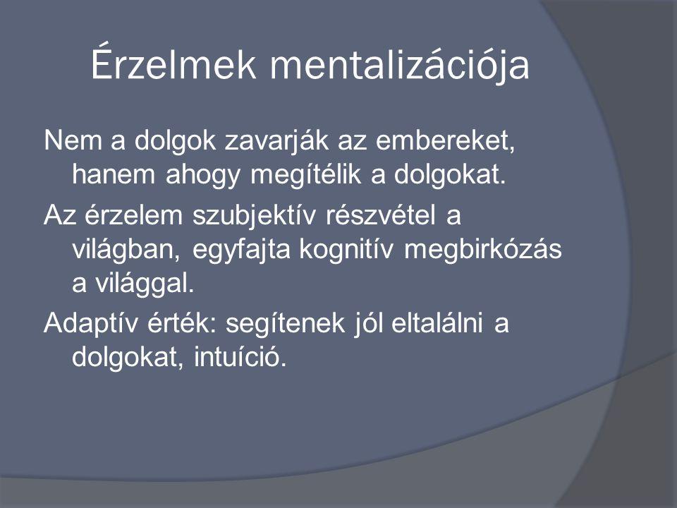 Érzelmek mentalizációja Nem a dolgok zavarják az embereket, hanem ahogy megítélik a dolgokat.