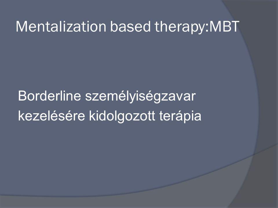 Mentalization based therapy:MBT Borderline személyiségzavar kezelésére kidolgozott terápia