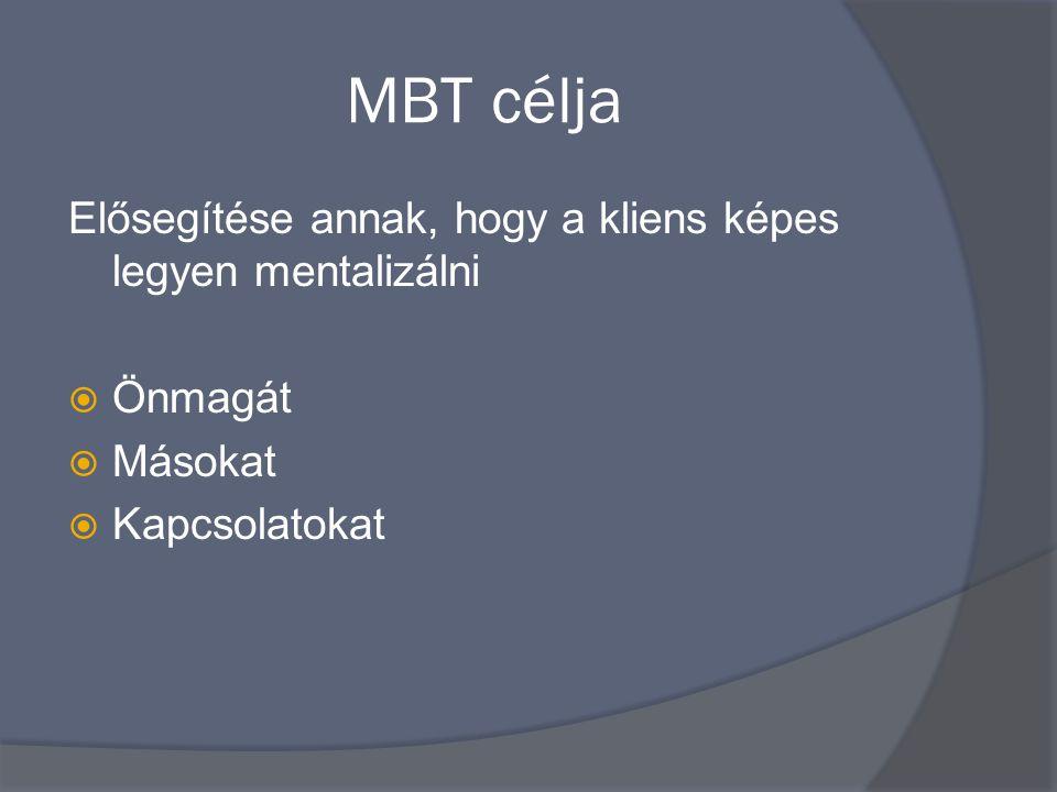 MBT célja Elősegítése annak, hogy a kliens képes legyen mentalizálni  Önmagát  Másokat  Kapcsolatokat