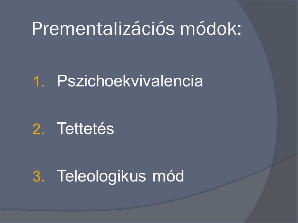 Prementalizációs módok: 1. Pszichoekvivalencia 2. Tettetés 3. Teleologikus mód