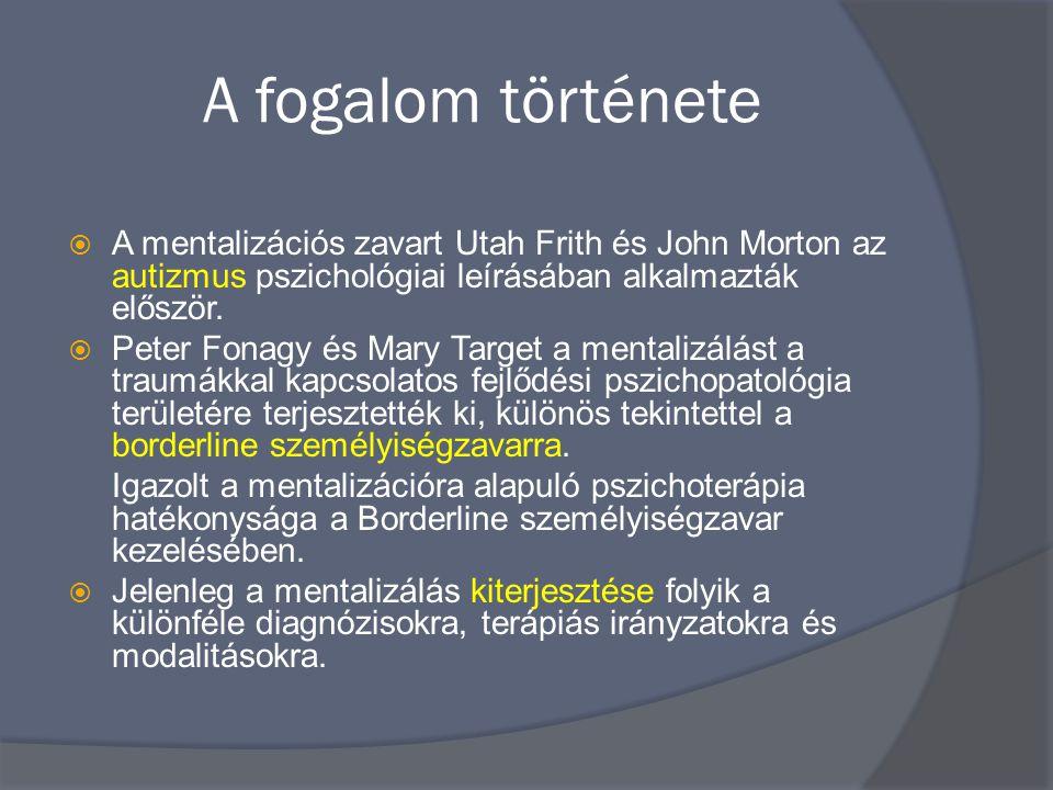 A fogalom története  A mentalizációs zavart Utah Frith és John Morton az autizmus pszichológiai leírásában alkalmazták először.