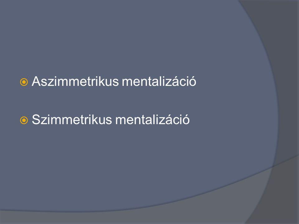  Aszimmetrikus mentalizáció  Szimmetrikus mentalizáció