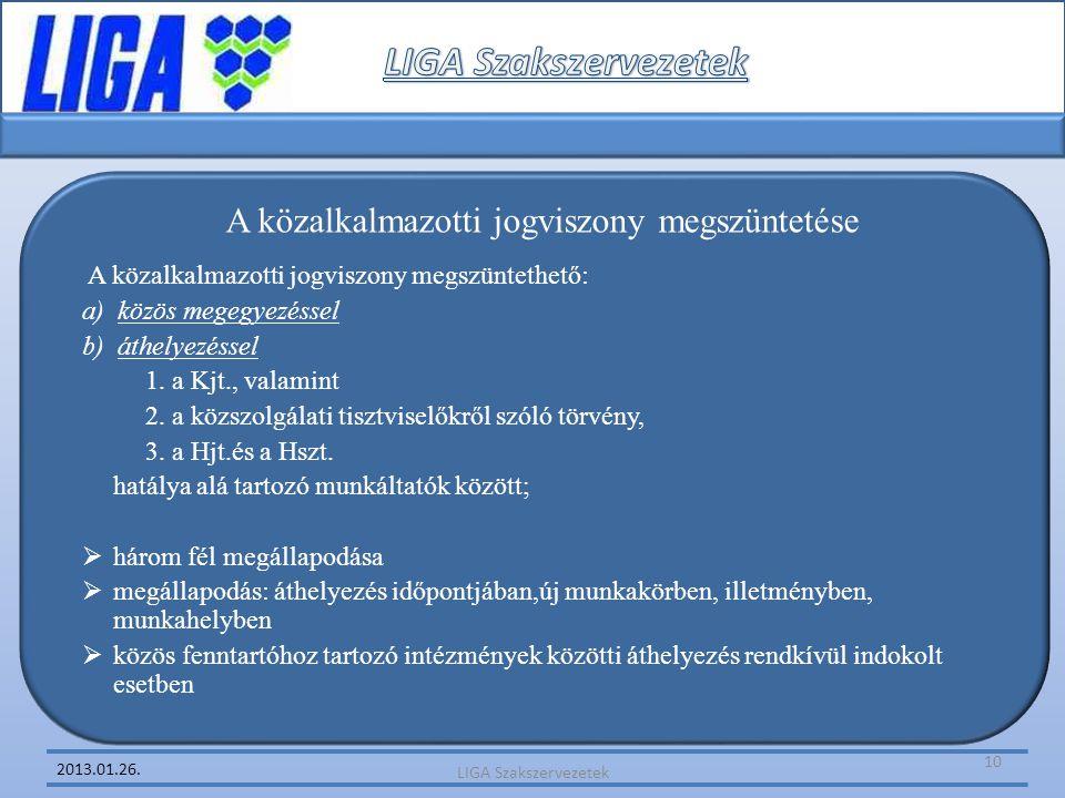 2013.01.26. A közalkalmazotti jogviszony megszüntetése A közalkalmazotti jogviszony megszüntethető: a) közös megegyezéssel b) áthelyezéssel 1. a Kjt.,