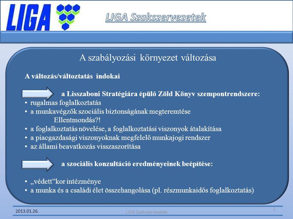 2013.01.26. A szabályozási környezet változása A változás/változtatás indokai a Lisszaboni Stratégiára épülő Zöld Könyv szempontrendszere: • rugalmas