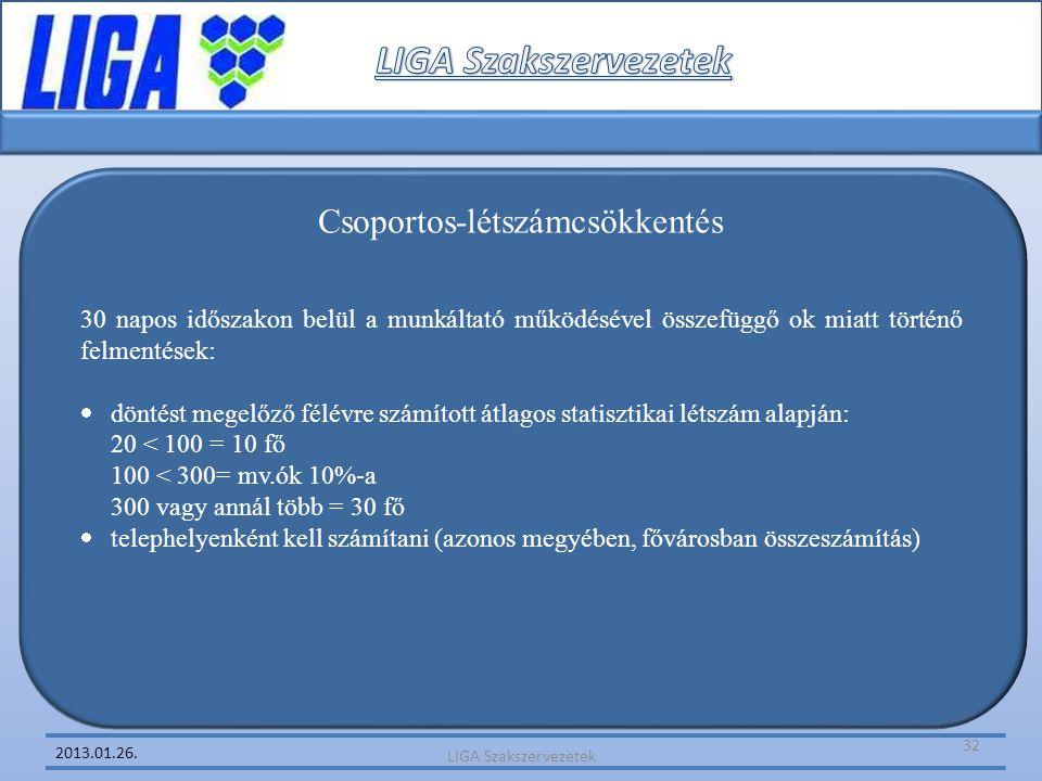2013.01.26. Csoportos-létszámcsökkentés 30 napos időszakon belül a munkáltató működésével összefüggő ok miatt történő felmentések:  döntést megelőző