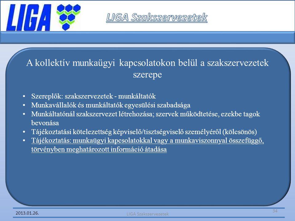 2013.01.26. A kollektív munkaügyi kapcsolatokon belül a szakszervezetek szerepe •Szereplők: szakszervezetek - munkáltatók •Munkavállalók és munkáltató