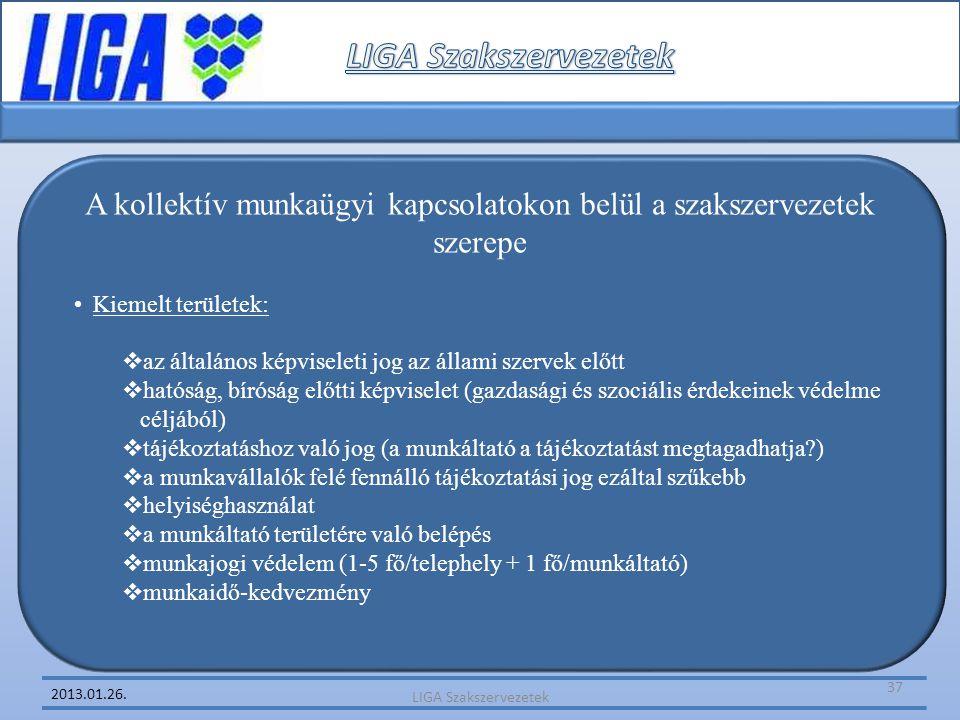 2013.01.26. A kollektív munkaügyi kapcsolatokon belül a szakszervezetek szerepe •Kiemelt területek:  az általános képviseleti jog az állami szervek e