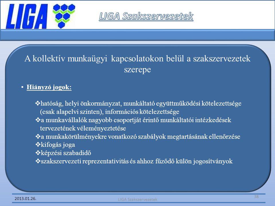 2013.01.26. A kollektív munkaügyi kapcsolatokon belül a szakszervezetek szerepe •Hiányzó jogok:  hatóság, helyi önkormányzat, munkáltató együttműködé