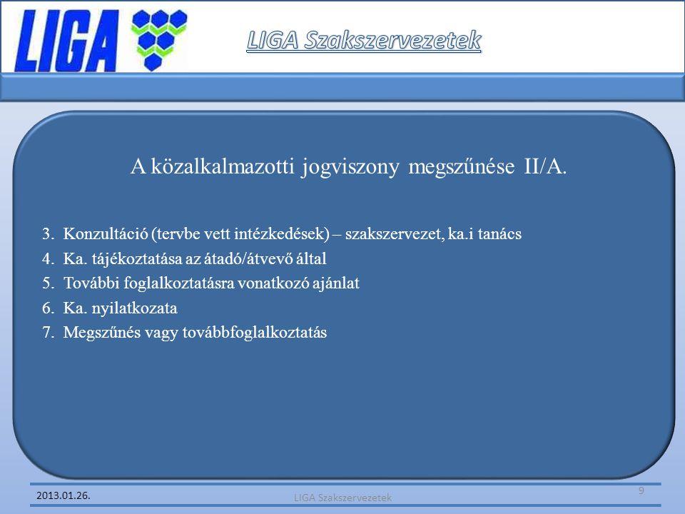 2013.01.26. A közalkalmazotti jogviszony megszűnése II/A. 3. Konzultáció (tervbe vett intézkedések) – szakszervezet, ka.i tanács 4. Ka. tájékoztatása