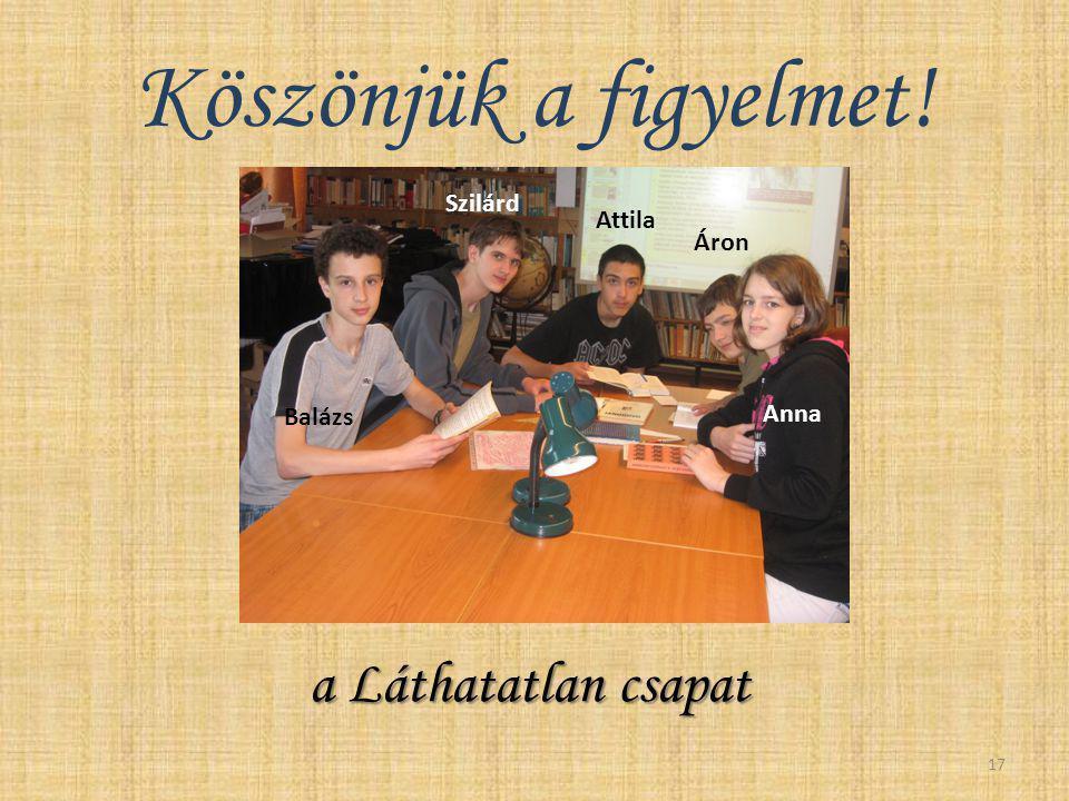 Köszönjük a figyelmet! a Láthatatlan csapat a Láthatatlan csapat 17 Balázs Attila Anna Áron Szilárd