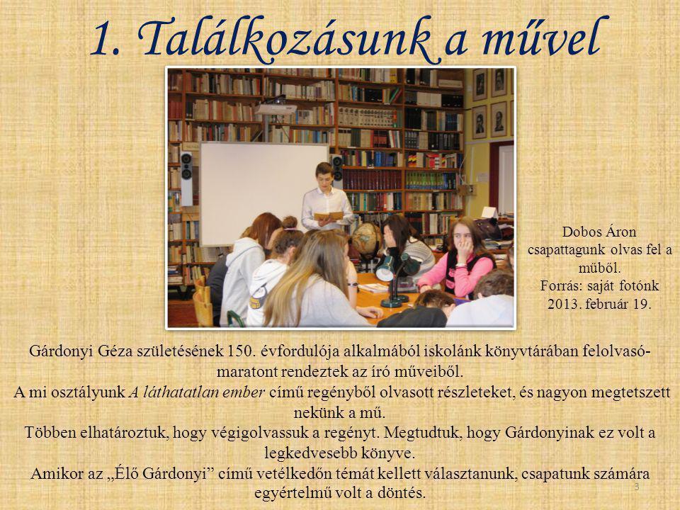 Gárdonyi Géza születésének 150. évfordulója alkalmából iskolánk könyvtárában felolvasó- maratont rendeztek az író műveiből. A mi osztályunk A láthatat