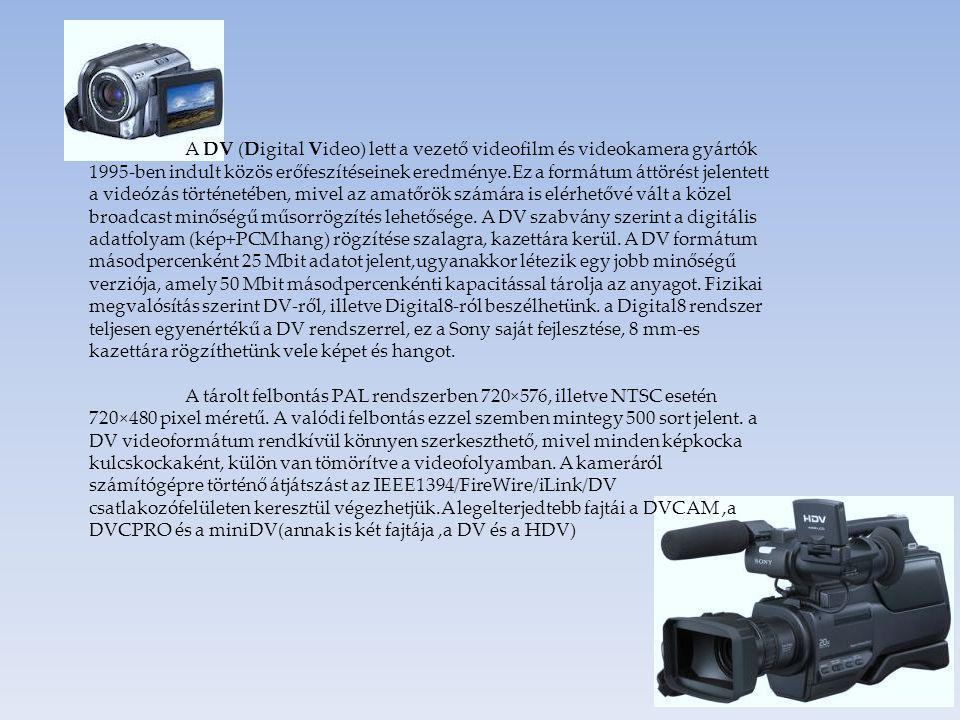 A DV (Digital Video) lett a vezető videofilm és videokamera gyártók 1995-ben indult közös erőfeszítéseinek eredménye.Ez a formátum áttörést jelentett a videózás történetében, mivel az amatőrök számára is elérhetővé vált a közel broadcast minőségű műsorrögzítés lehetősége.