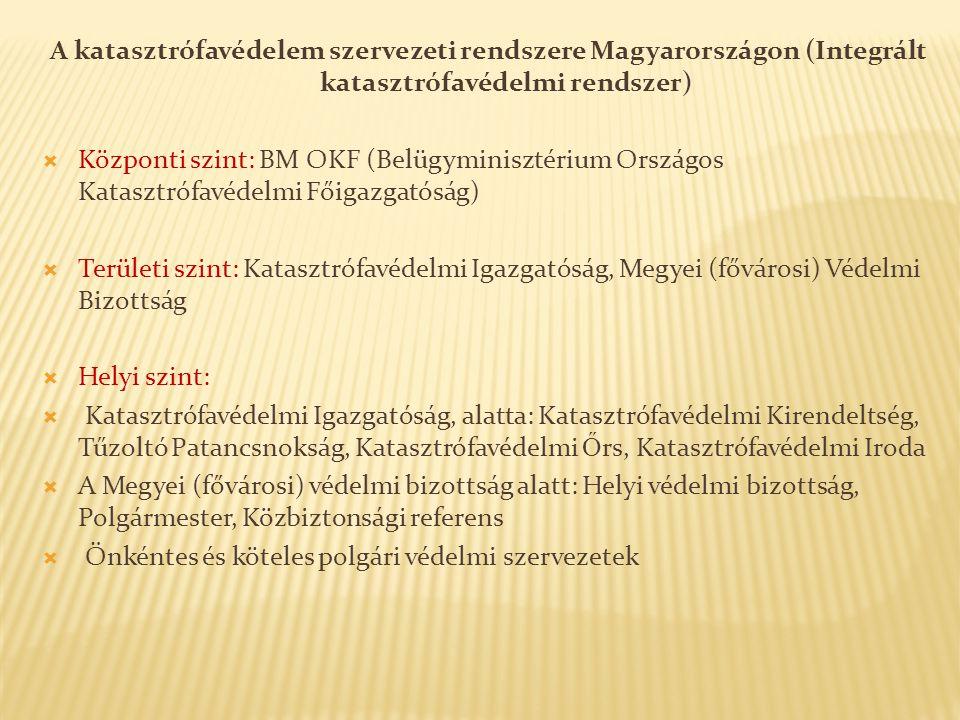 A katasztrófavédelem szervezeti rendszere Magyarországon (Integrált katasztrófavédelmi rendszer)  Központi szint: BM OKF (Belügyminisztérium Országos Katasztrófavédelmi Főigazgatóság)  Területi szint: Katasztrófavédelmi Igazgatóság, Megyei (fővárosi) Védelmi Bizottság  Helyi szint:  Katasztrófavédelmi Igazgatóság, alatta: Katasztrófavédelmi Kirendeltség, Tűzoltó Patancsnokság, Katasztrófavédelmi Ő rs, Katasztrófavédelmi Iroda  A Megyei (fővárosi) védelmi bizottság alatt: Helyi védelmi bizottság, Polgármester, Közbiztonsági referens  Önkéntes és köteles polgári védelmi szervezetek