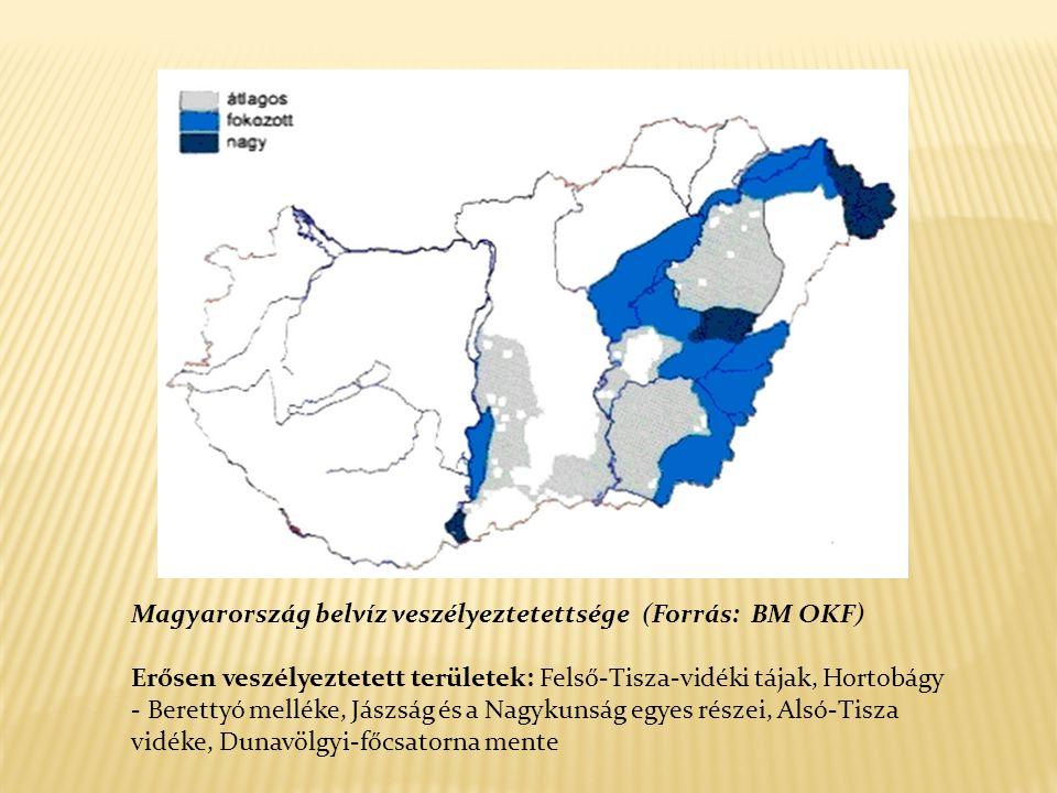Magyarország belvíz veszélyeztetettsége (Forrás: BM OKF) Erősen veszélyeztetett területek: Felső-Tisza-vidéki tájak, Hortobágy - Berettyó melléke, Jászság és a Nagykunság egyes részei, Alsó-Tisza vidéke, Dunavölgyi-főcsatorna mente