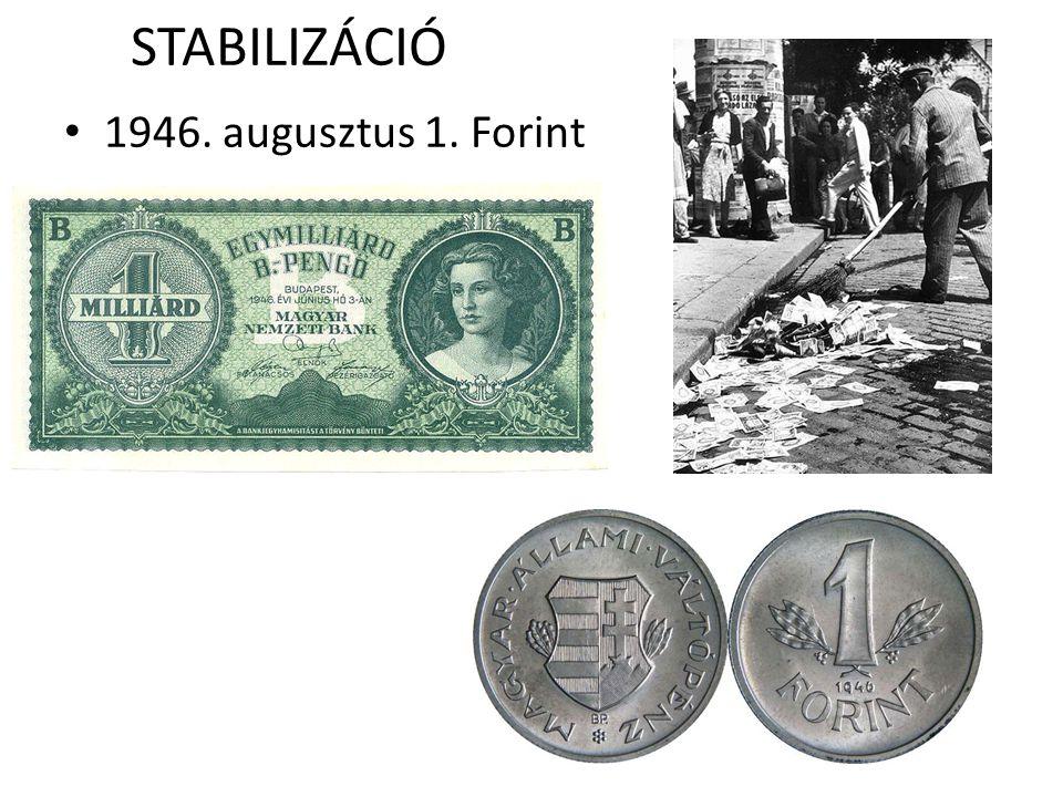 STABILIZÁCIÓ • 1946. augusztus 1. Forint