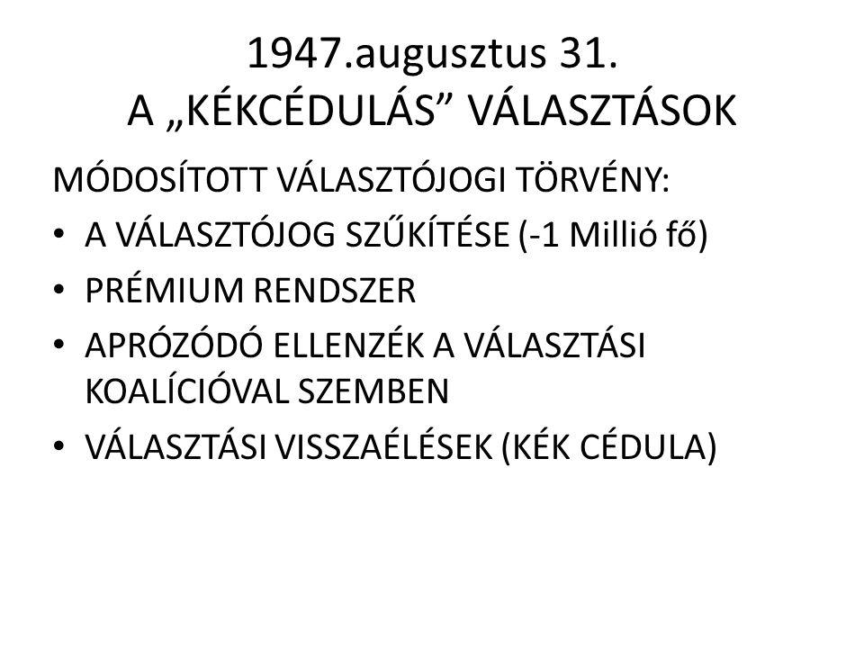 """1947.augusztus 31. A """"KÉKCÉDULÁS"""" VÁLASZTÁSOK MÓDOSÍTOTT VÁLASZTÓJOGI TÖRVÉNY: • A VÁLASZTÓJOG SZŰKÍTÉSE (-1 Millió fő) • PRÉMIUM RENDSZER • APRÓZÓDÓ"""