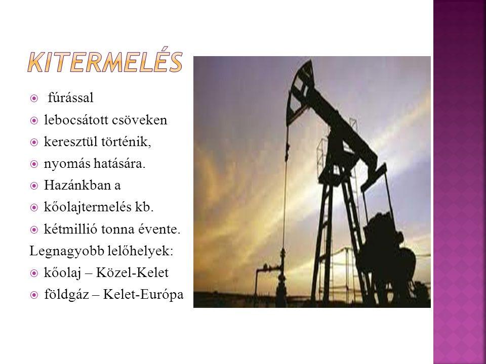  fúrással  lebocsátott csöveken  keresztül történik,  nyomás hatására.  Hazánkban a  kőolajtermelés kb.  kétmillió tonna évente. Legnagyobb lel