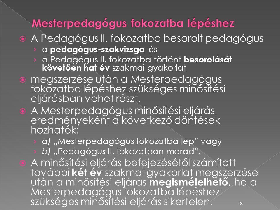  A Pedagógus II. fokozatba besorolt pedagógus › a pedagógus-szakvizsga és › a Pedagógus II. fokozatba történt besorolását követően hat év szakmai gya