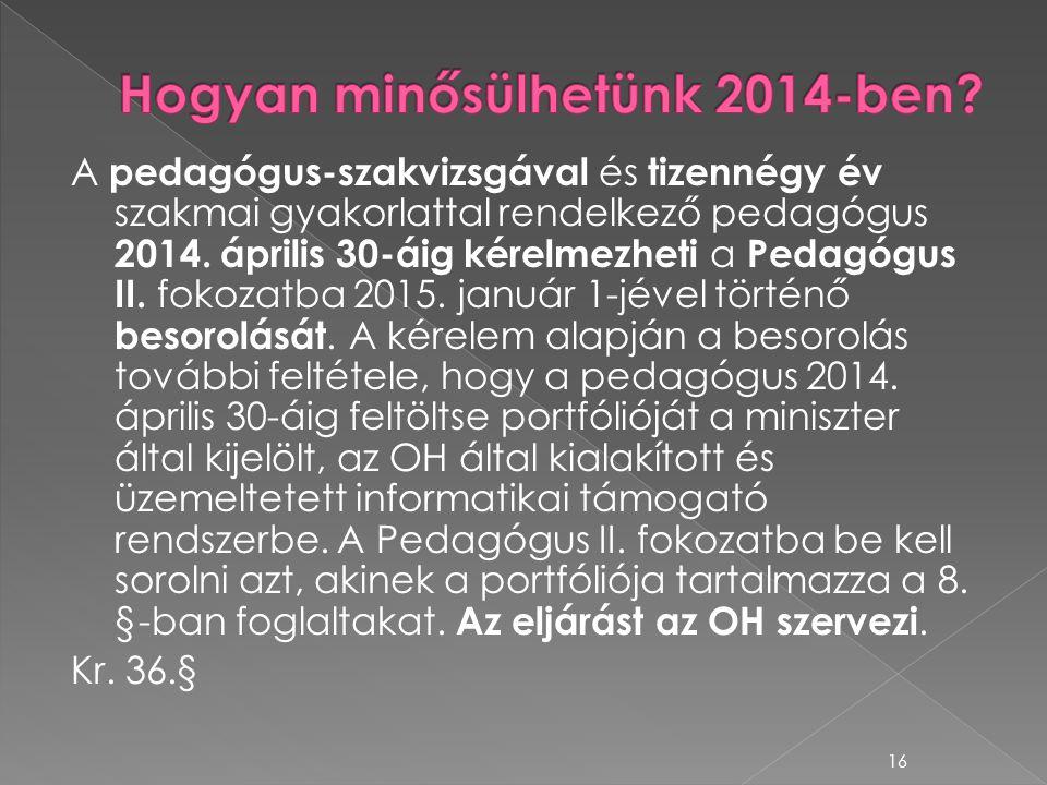 A pedagógus-szakvizsgával és tizennégy év szakmai gyakorlattal rendelkező pedagógus 2014. április 30-áig kérelmezheti a Pedagógus II. fokozatba 2015.
