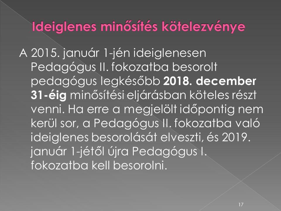 A 2015. január 1-jén ideiglenesen Pedagógus II. fokozatba besorolt pedagógus legkésőbb 2018. december 31-éig minősítési eljárásban köteles részt venni