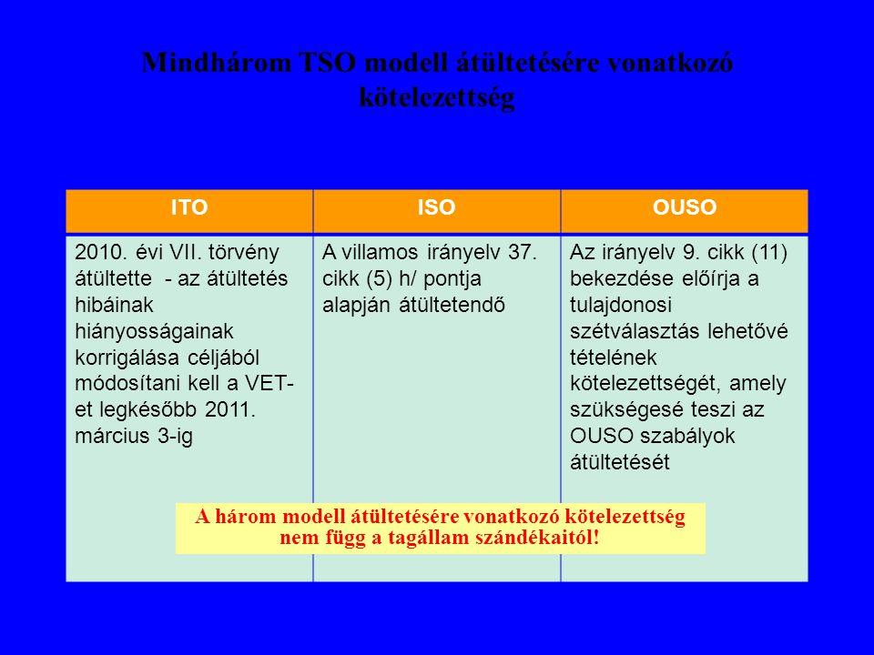 Mindhárom TSO modell átültetésére vonatkozó kötelezettség ITOISOOUSO 2010. évi VII. törvény átültette - az átültetés hibáinak hiányosságainak korrigál