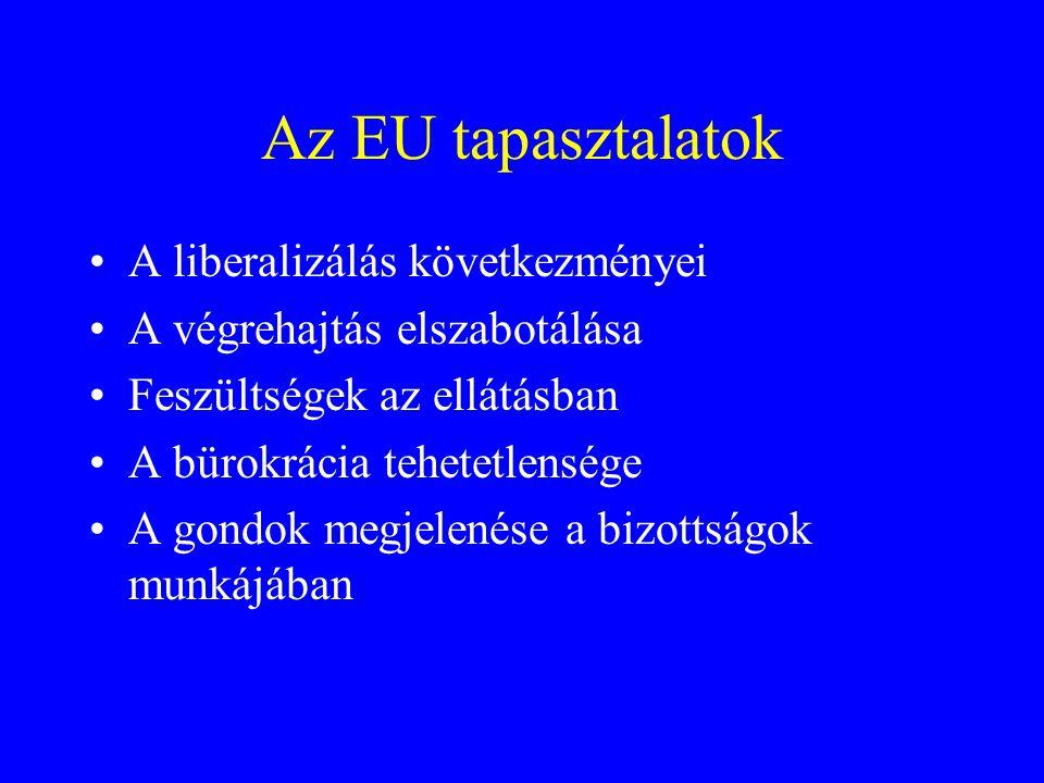 Az EU tapasztalatok •A liberalizálás következményei •A végrehajtás elszabotálása •Feszültségek az ellátásban •A bürokrácia tehetetlensége •A gondok me