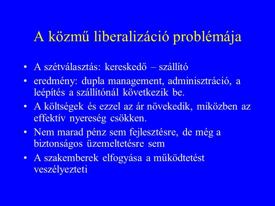 A közmű liberalizáció problémája •A szétválasztás: kereskedő – szállító •eredmény: dupla management, adminisztráció, a leépítés a szállítónál következ