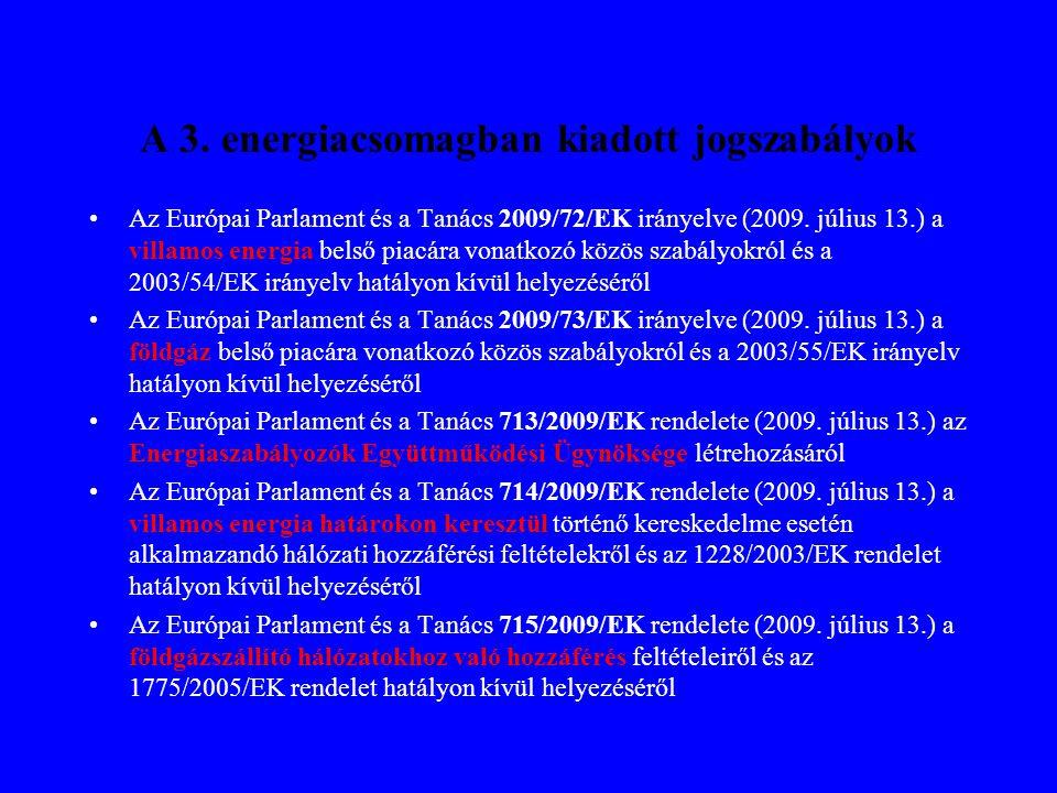 A 3. energiacsomagban kiadott jogszabályok •Az Európai Parlament és a Tanács 2009/72/EK irányelve (2009. július 13.) a villamos energia belső piacára