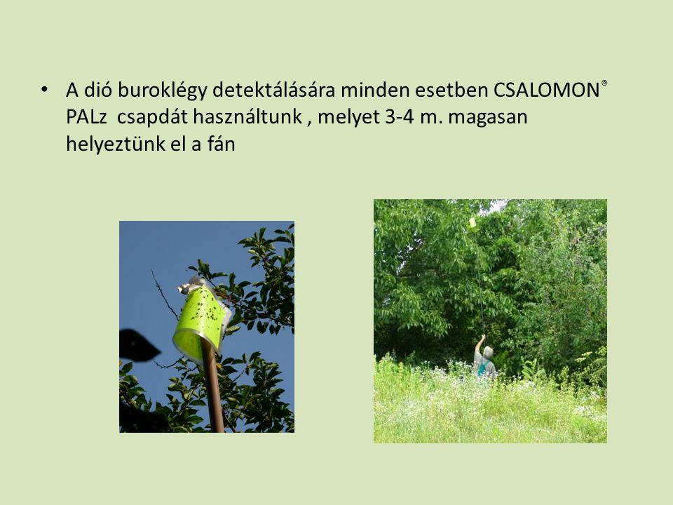 • A dió buroklégy detektálására minden esetben CSALOMON ® PALz csapdát használtunk, melyet 3-4 m. magasan helyeztünk el a fán
