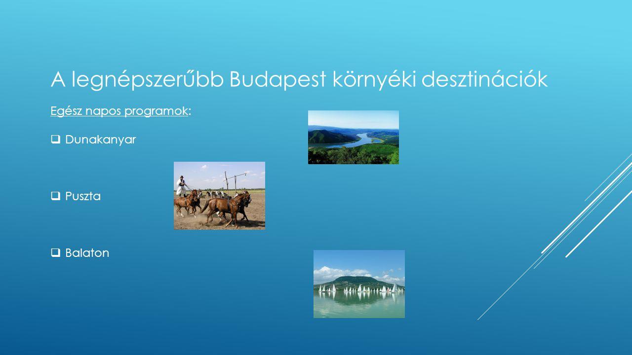 Egész napos programok:  Dunakanyar  Puszta  Balaton A legnépszerűbb Budapest környéki desztinációk
