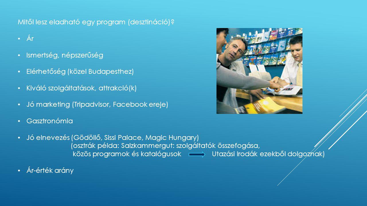 Mitől lesz eladható egy program (desztináció)? • Ár • Ismertség, népszerűség • Elérhetőség (közel Budapesthez) • Kiváló szolgáltatások, attrakció(k) •