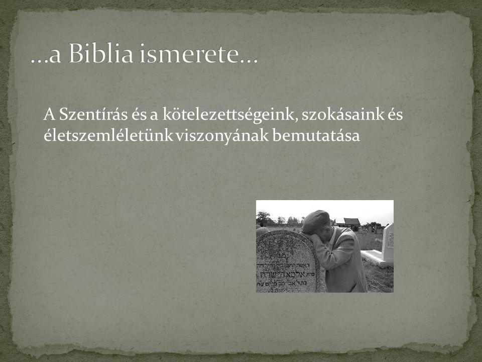 A Szentírás és a kötelezettségeink, szokásaink és életszemléletünk viszonyának bemutatása