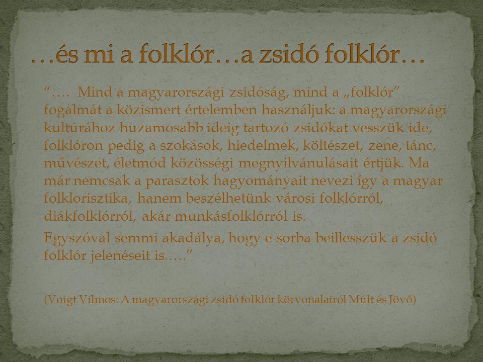 """""""….Mind a magyarországi zsidóság, mind a """"folklór"""" fogalmát a közismert értelemben használjuk: a magyarországi kultúrához huzamosabb ideig tartozó zsi"""