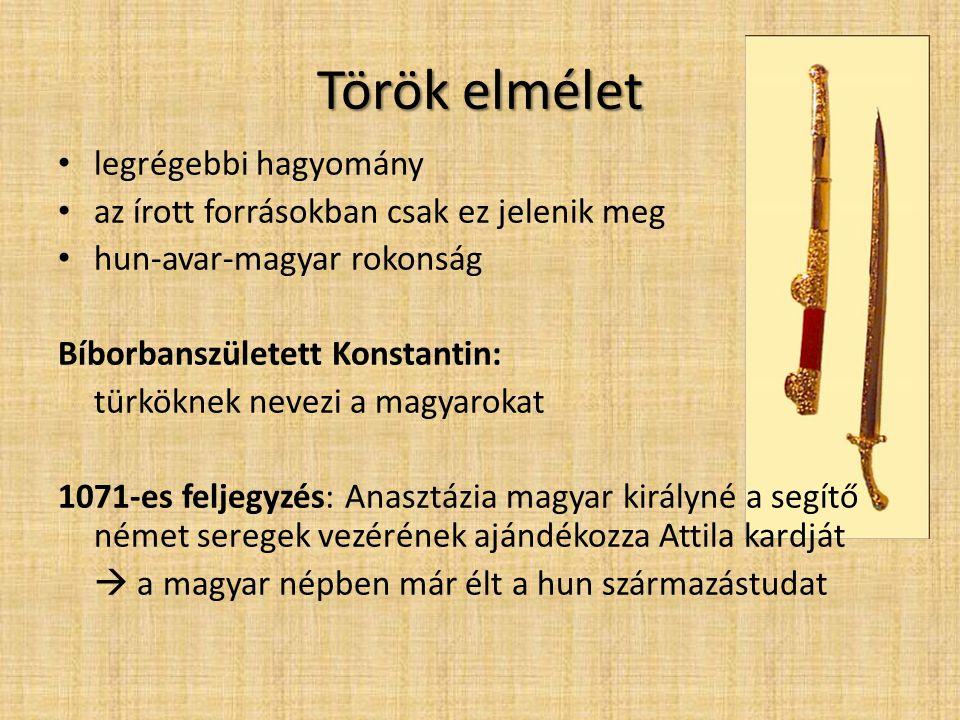 Török elmélet • legrégebbi hagyomány • az írott forrásokban csak ez jelenik meg • hun-avar-magyar rokonság Bíborbanszületett Konstantin: türköknek nev