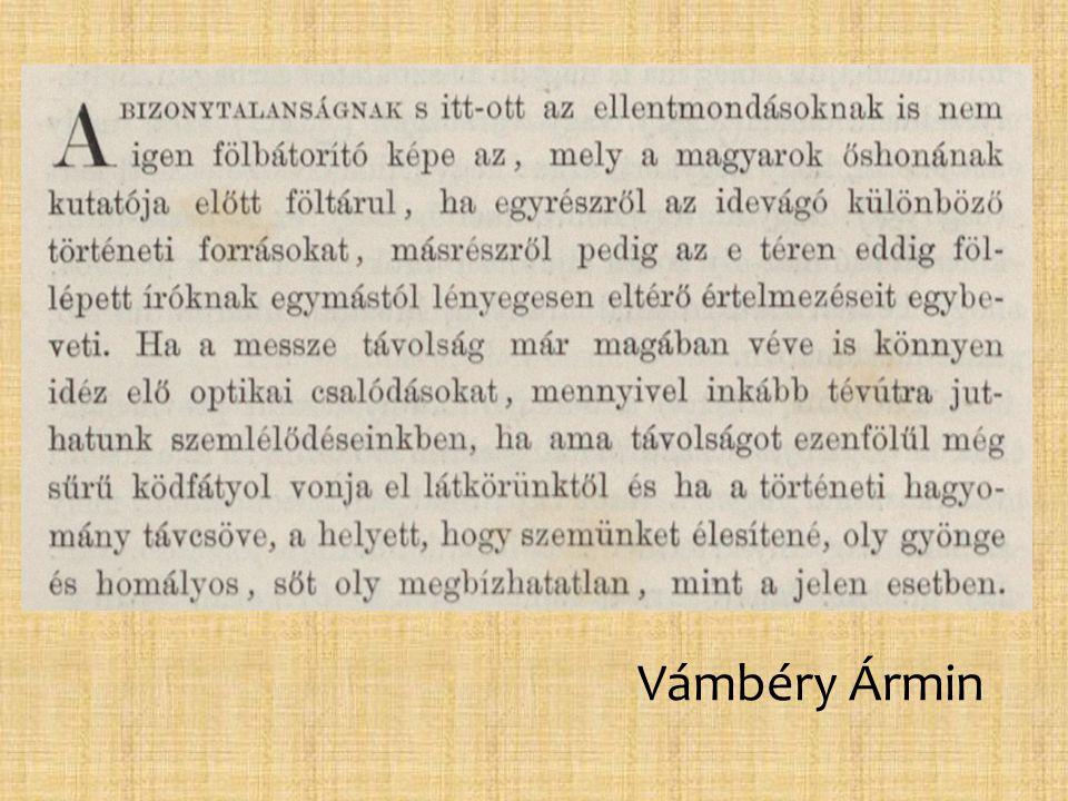 """Hunfalvy Pál (1810-1891) • német származású nyelvész • Magyar Nyelvészet címen nyelvészeti folyóiratot vezetett • az Akadémia tagja • a Felsőház tagja • ő bízta meg Budenzet, hogy kapcsolatot találjon a finn nyelvekkel Kritika vele szemben: """"Azt a tényt, hogy a finnek nyerték meg az ugor–török háborút, alig lehet tudományos érdemnek nevezni."""