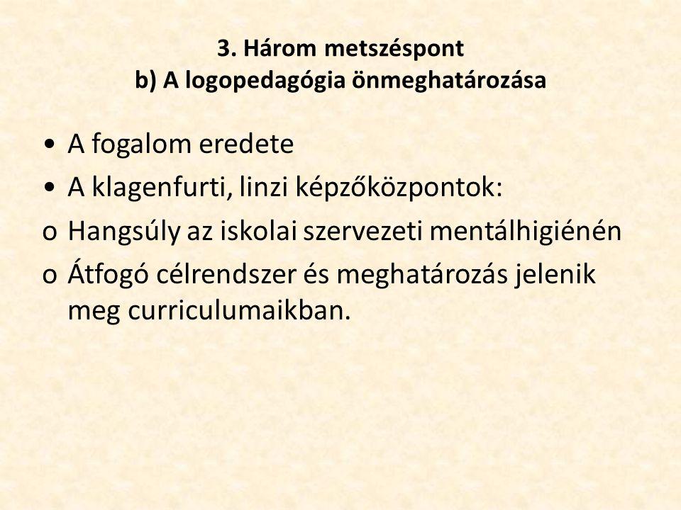 3. Három metszéspont b) A logopedagógia önmeghatározása •A fogalom eredete •A klagenfurti, linzi képzőközpontok: oHangsúly az iskolai szervezeti mentá