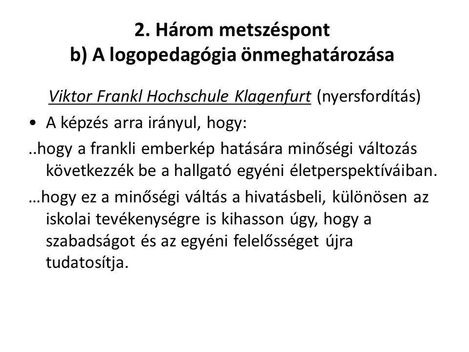 2. Három metszéspont b) A logopedagógia önmeghatározása Viktor Frankl Hochschule Klagenfurt (nyersfordítás) •A képzés arra irányul, hogy:..hogy a fran