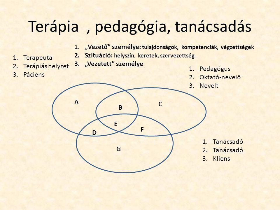 """Terápia, pedagógia, tanácsadás A B C D E F G 1.Terapeuta 2.Terápiás helyzet 3.Páciens 1.Pedagógus 2.Oktató-nevelő 3.Nevelt 1.Tanácsadó 2.Tanácsadó 3.Kliens 1.""""Vezető személye: tulajdonságok, kompetenciák, végzettségek 2.Szituáció: helyszín, keretek, szervezettség 3.""""Vezetett személye"""