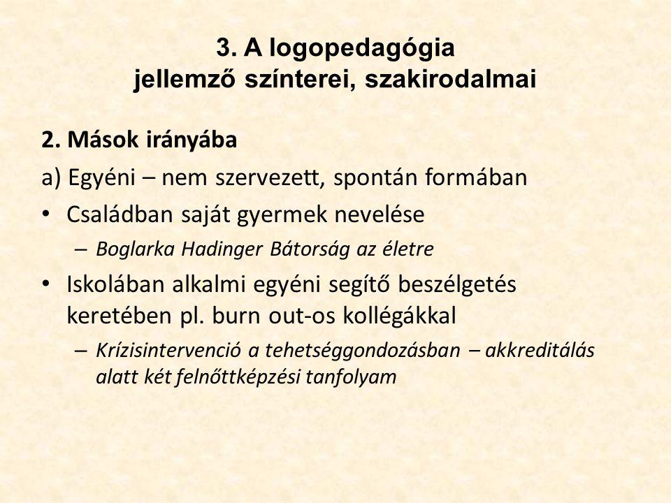 3.A logopedagógia jellemző színterei, szakirodalmai 2.