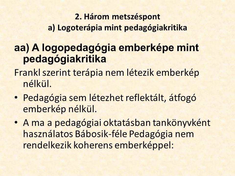 2. Három metszéspont a) Logoterápia mint pedagógiakritika aa) A logopedagógia emberképe mint pedagógiakritika Frankl szerint terápia nem létezik ember