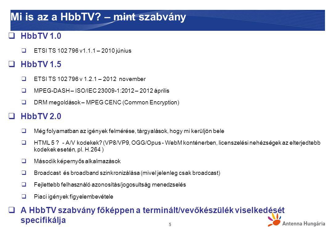 """16 Alkalmazások elérése  HbbTV """"autostart alkalmazás  AIT jelzésre felugró alkalmazás  Csatornaváltáskor automatikusan felugrik  Teljes képernyős vagy csak jelzi az elérhetőséget  """"Red button application a nemzetközi szakmai nyelvben  A felhasználó a piros gombbal indítja  Gyakorlatilag """"autostart , de átdefiniálható  HbbTV portál  Rádió szolgáltatásoknál  Teljes portál jelenik meg  Navigáció és alkalmazás indítása hasonló mint egy weblapon  HbbTV menü  Menüből elérhető alkalmazások"""