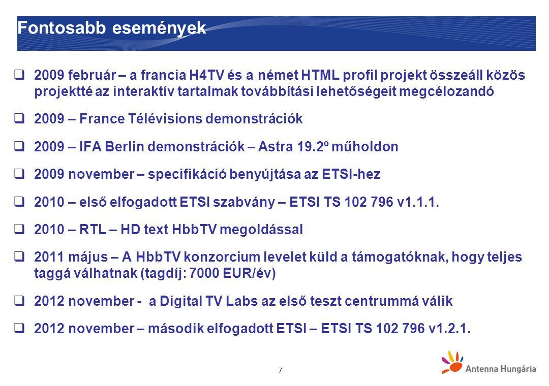 7 Fontosabb események  2009 február – a francia H4TV és a német HTML profil projekt összeáll közös projektté az interaktív tartalmak továbbítási lehetőségeit megcélozandó  2009 – France Télévisions demonstrációk  2009 – IFA Berlin demonstrációk – Astra 19.2º műholdon  2009 november – specifikáció benyújtása az ETSI-hez  2010 – első elfogadott ETSI szabvány – ETSI TS 102 796 v1.1.1.