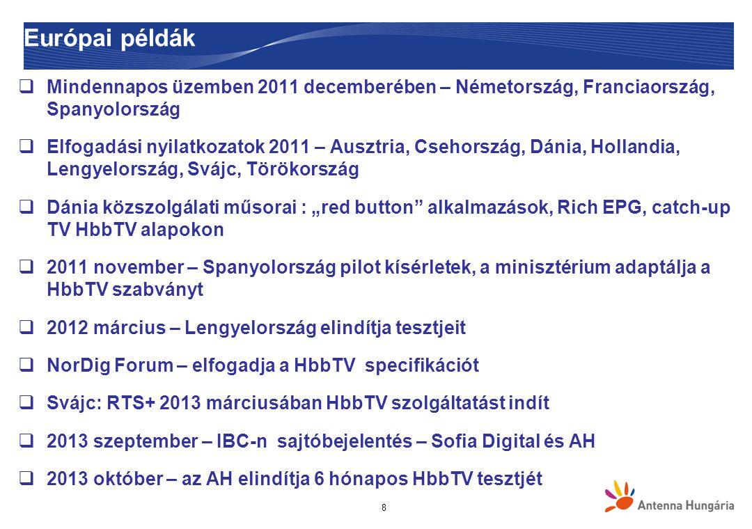 """8 Európai példák  Mindennapos üzemben 2011 decemberében – Németország, Franciaország, Spanyolország  Elfogadási nyilatkozatok 2011 – Ausztria, Csehország, Dánia, Hollandia, Lengyelország, Svájc, Törökország  Dánia közszolgálati műsorai : """"red button alkalmazások, Rich EPG, catch-up TV HbbTV alapokon  2011 november – Spanyolország pilot kísérletek, a minisztérium adaptálja a HbbTV szabványt  2012 március – Lengyelország elindítja tesztjeit  NorDig Forum – elfogadja a HbbTV specifikációt  Svájc: RTS+ 2013 márciusában HbbTV szolgáltatást indít  2013 szeptember – IBC-n sajtóbejelentés – Sofia Digital és AH  2013 október – az AH elindítja 6 hónapos HbbTV tesztjét"""