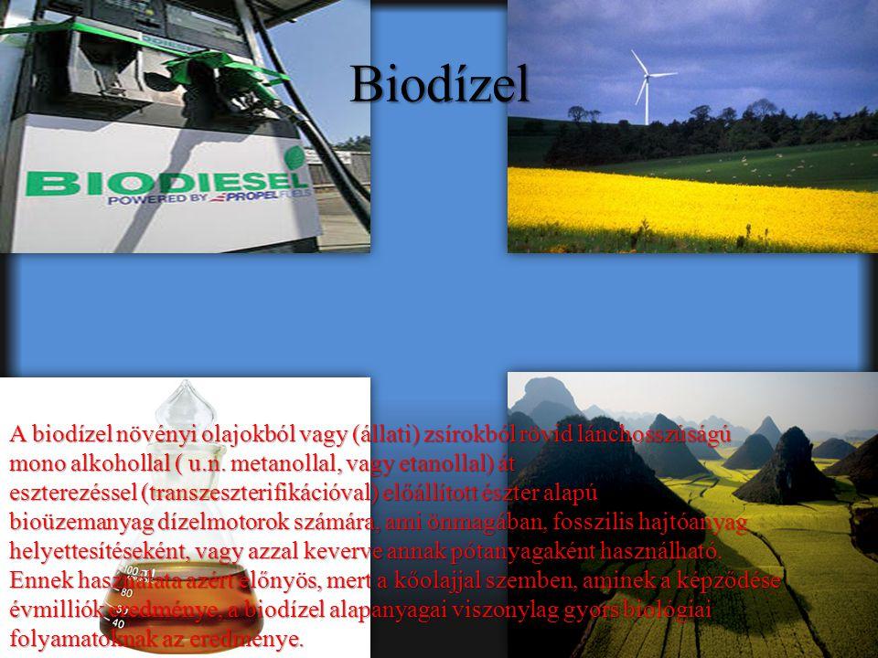 Biodízel A biodízel növényi olajokból vagy (állati) zsírokból rövid lánchosszúságú mono alkohollal ( u.n.