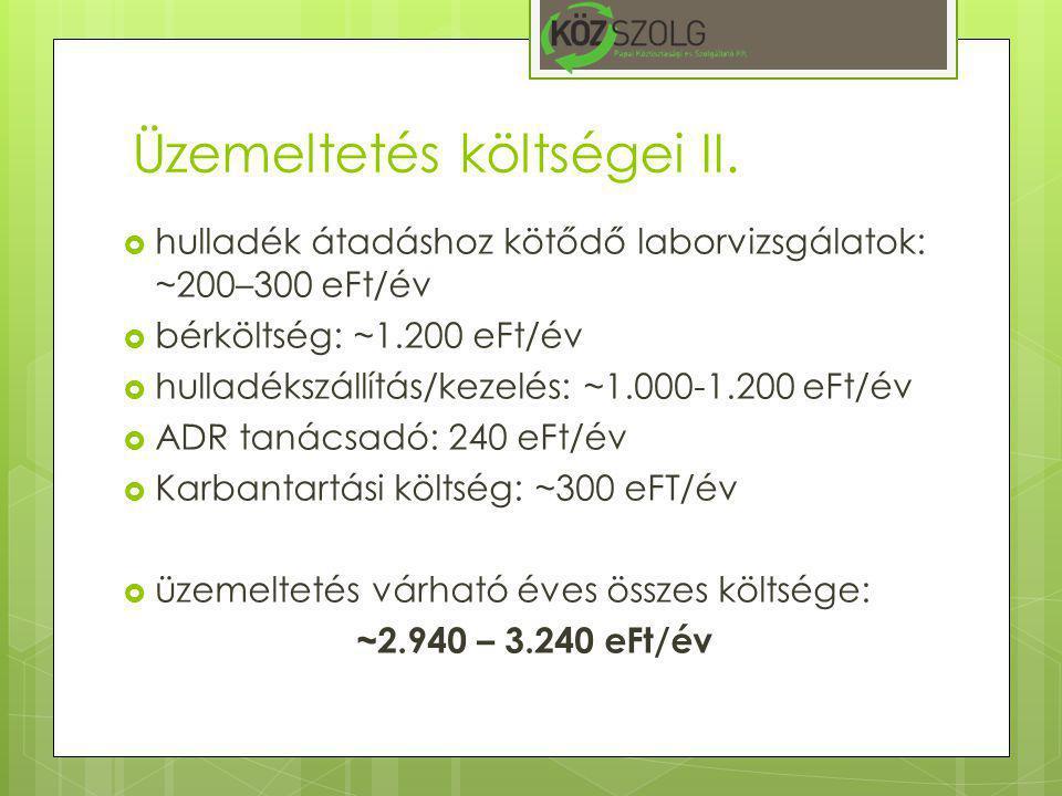 Üzemeltetés költségei II.  hulladék átadáshoz kötődő laborvizsgálatok: ~200–300 eFt/év  bérköltség: ~1.200 eFt/év  hulladékszállítás/kezelés: ~1.00