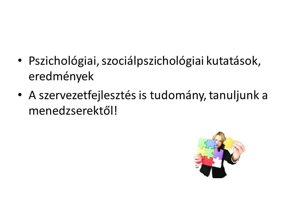 • Pszichológiai, szociálpszichológiai kutatások, eredmények • A szervezetfejlesztés is tudomány, tanuljunk a menedzserektől!
