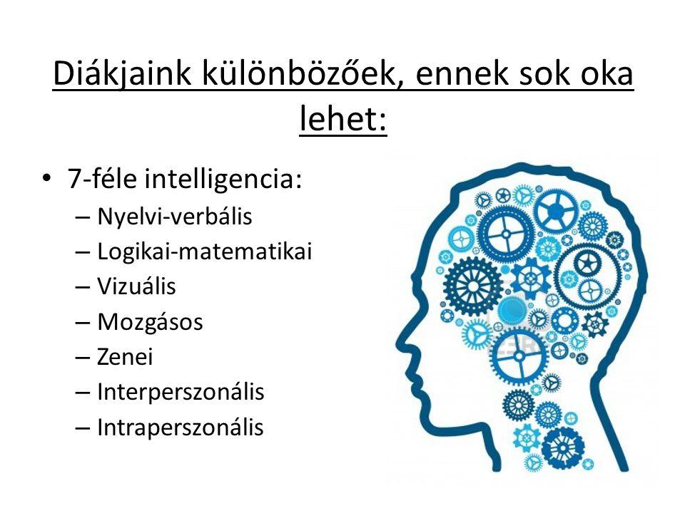 Diákjaink különbözőek, ennek sok oka lehet: • 7-féle intelligencia: – Nyelvi-verbális – Logikai-matematikai – Vizuális – Mozgásos – Zenei – Interpersz