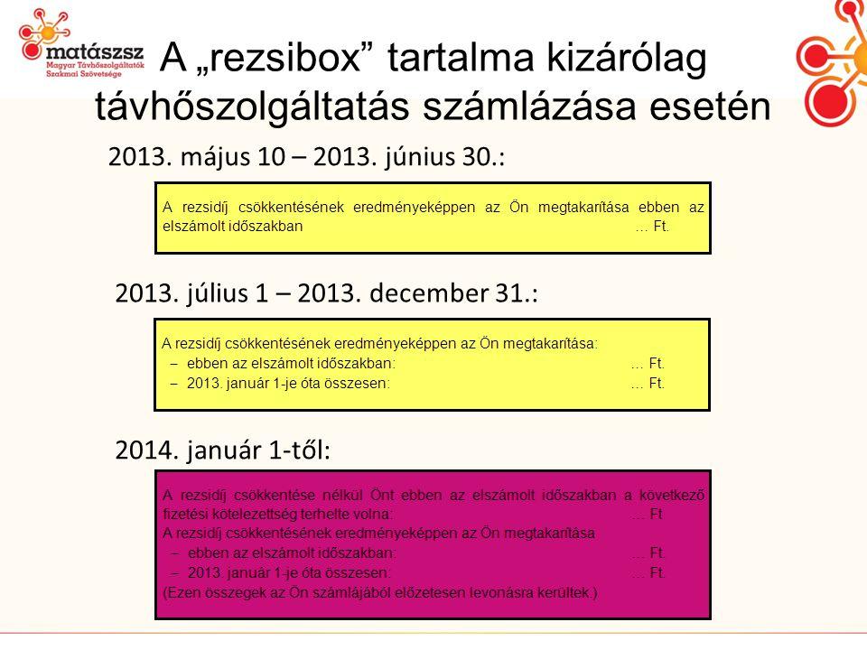 """A """"rezsibox tartalma kizárólag távhőszolgáltatás számlázása esetén 2013."""