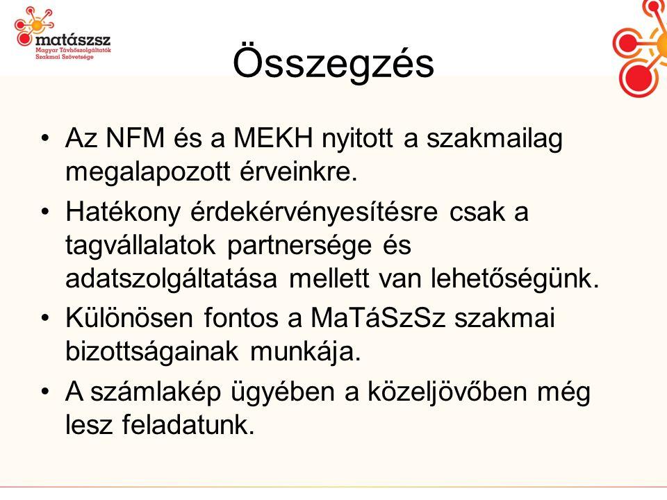 Összegzés •Az NFM és a MEKH nyitott a szakmailag megalapozott érveinkre.
