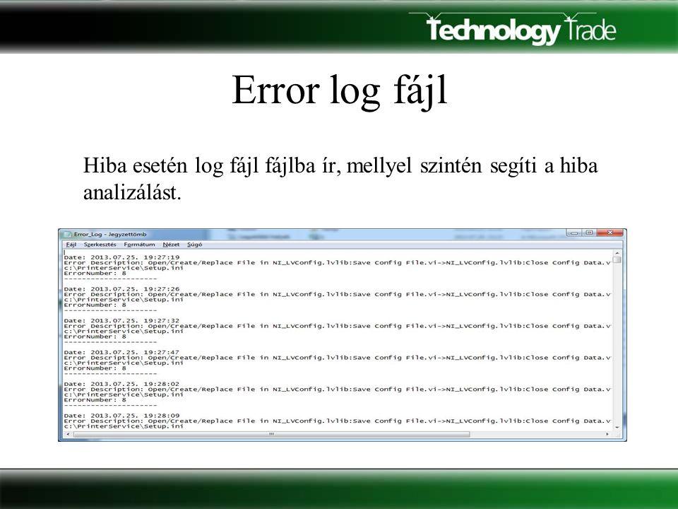 Error log fájl Hiba esetén log fájl fájlba ír, mellyel szintén segíti a hiba analizálást.